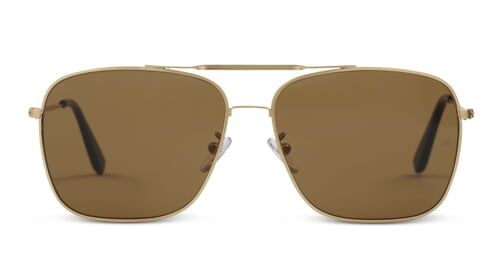 Wise Guy - Square Aviator Sunglasses with Brushed Gold Frame