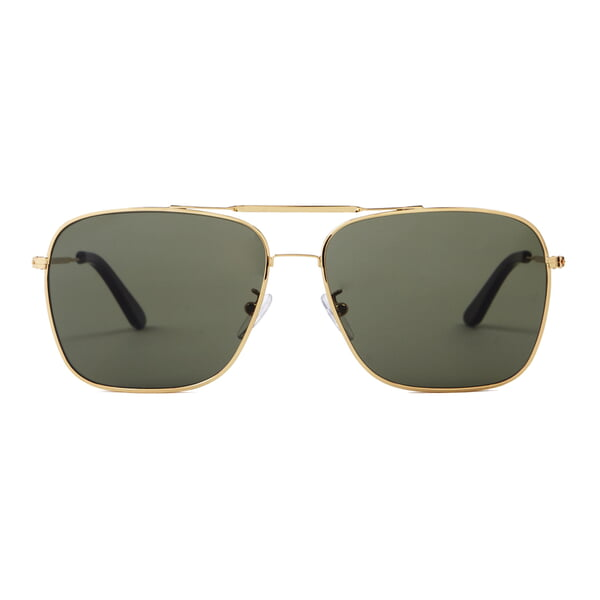 Wise Guy - Square Aviator Sunglasses with Shiny Gold Frame