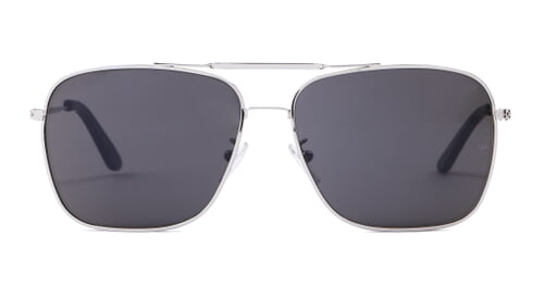 Wise Guy - Square Aviator Sunglasses with Silver Frame